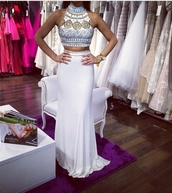 dress,white dress,egyptian style,two-piece,beaded dress,slim fit,two piece beaded white prom dress,shirt,white,prom dress,egyptian