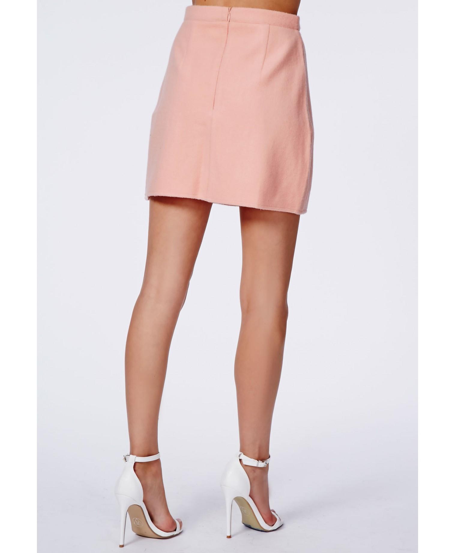 Beth Felt Zip Front A-Line Skirt Baby Pink