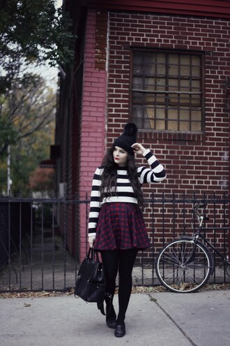 noelles favorite things blogger pom pom beanie skater skirt striped sweater leather backpack fall outfits loafers back to school tartan plaid skirt mini skirt tights striped top long sleeves beanie black beanie black backpack