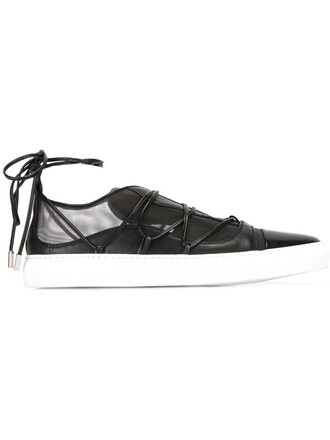 mesh women sneakers lace leather black shoes