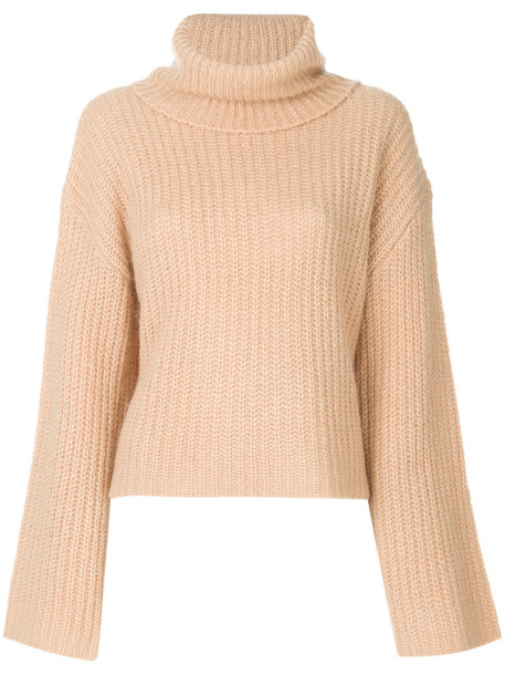 KENDALL+KYLIE jumper turtleneck cross back women mohair brown sweater