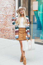cortinsession,blogger,cardigan,sweater,tank top,skirt,shoes,bag,jewels,hat,sandals,striped cardigan,handbag,button up skirt