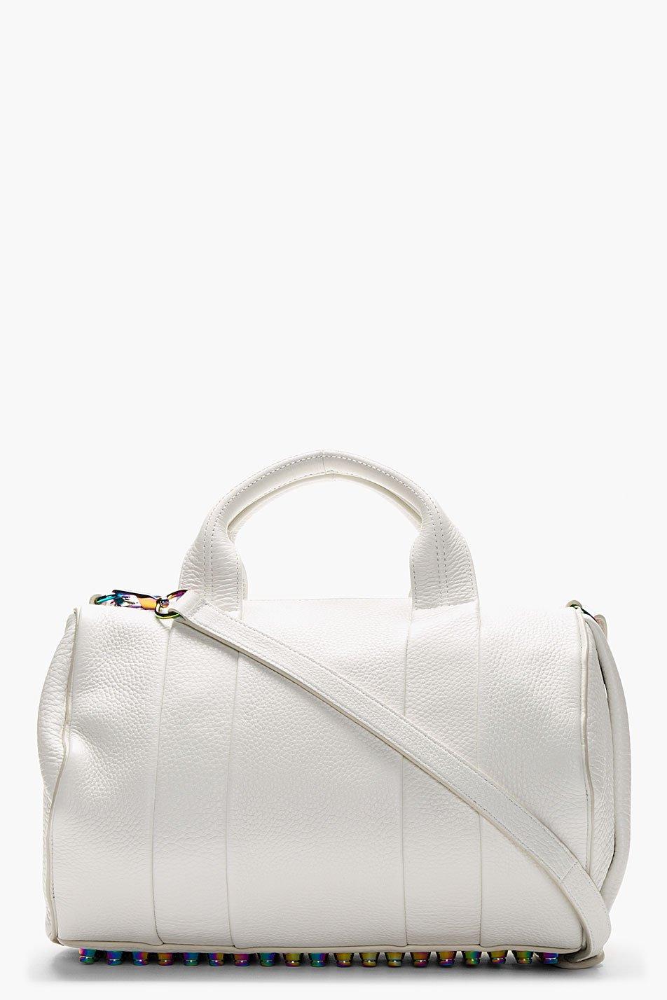 Alexander wang white pebbled lambskin rocco handbag