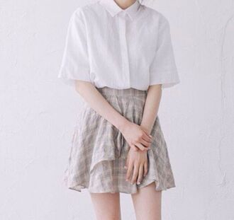 blouse white blouse t-shirt shirt collar skirt plaid plaid skirt korean fashion style kawaii cute girly asian fashion