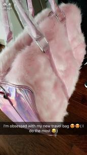 bag,pink,fur,holographic