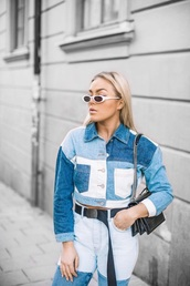 jacket,cropped jacket,patchwork,blue jeans,blue jacket,sunglasses,white sunglasses,belt,denim jacket