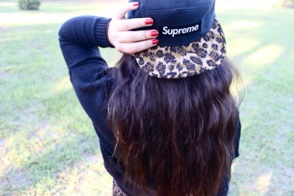 hat supreme snapback leopard print black