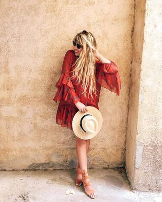 dress french girl hat red dress mini dress bell sleeves bell sleeve dress sandals sun hat sunglasses