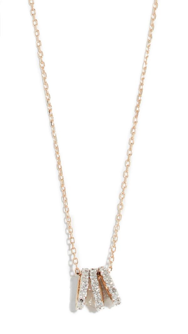 Adina Reyter 14k Tiny 3 Pavé Beads Necklace in gold / yellow
