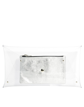 Klear Klutch | Klear Klutch Large Transparent Clutch Bag with Silver Leather Pouch at ASOS