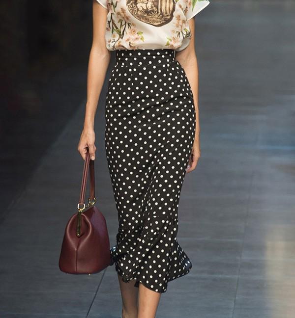 Peplum Hem Midi Skirt In Polka Dot