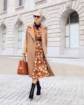 shoes,booties,black booties,high heels boots,midi dress,floral dress,ruffle dress,belted dress,button up,handbag,coat,wool coat,long coat,sunglasses,boots,suede boots,turtleneck
