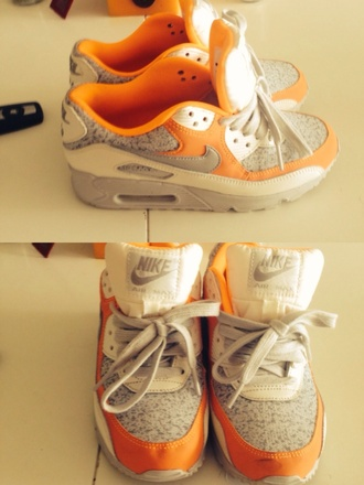 shoes nike nike air air max nike air max 90 sneakers shoes addict sneakers addict gris grey blanc white orange baskets
