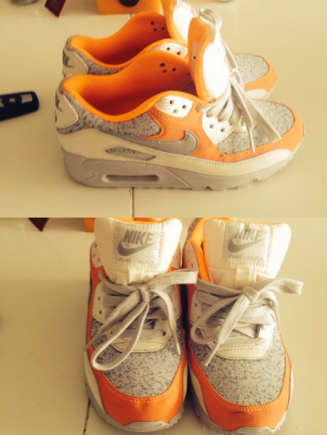 shoes nike nike air air max nike air max 90 air max sneakers shoes addict sneakers addict gris grey blanc white orange baskets nike air max 90