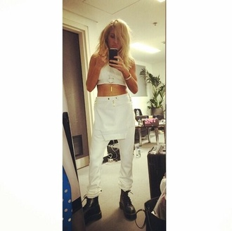 pants white white trousers trousers white pants white top white tee t-shirt top crop top tank top crop tank white tank white crop tops ellie goulding