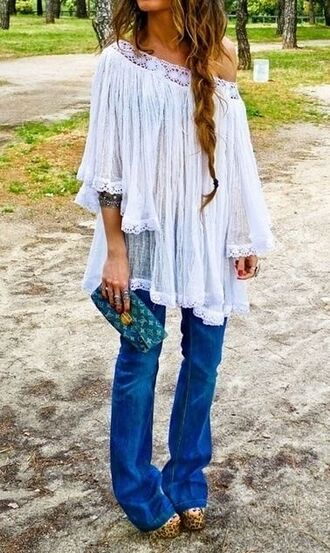blouse lace white lace shirt boho boho shirt bohemian shirt white pretty cute flowy summer outfits off the shoulder hippie jeans shoes hippie chic boho chic military style loose tshirt shoulderless white blouse
