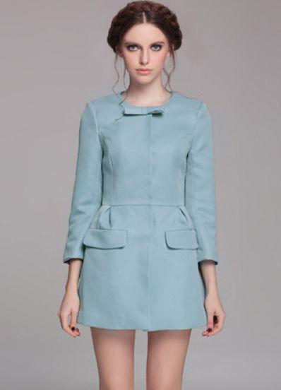 Blue Long Sleeve Bow Slim Pockets Trench Coat - Sheinside.com