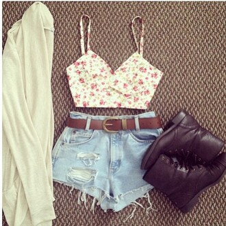 shoes leather shoes white cover up ripped shorts floral crop top belt