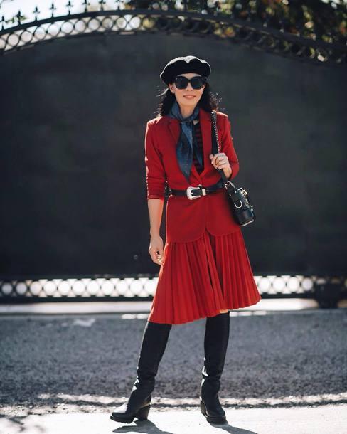 skirt red red skirt pleated skirt midi skirt