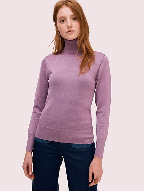 Kate Spade Metallic Ribbed Turtleneck, Purple Shade - Size S