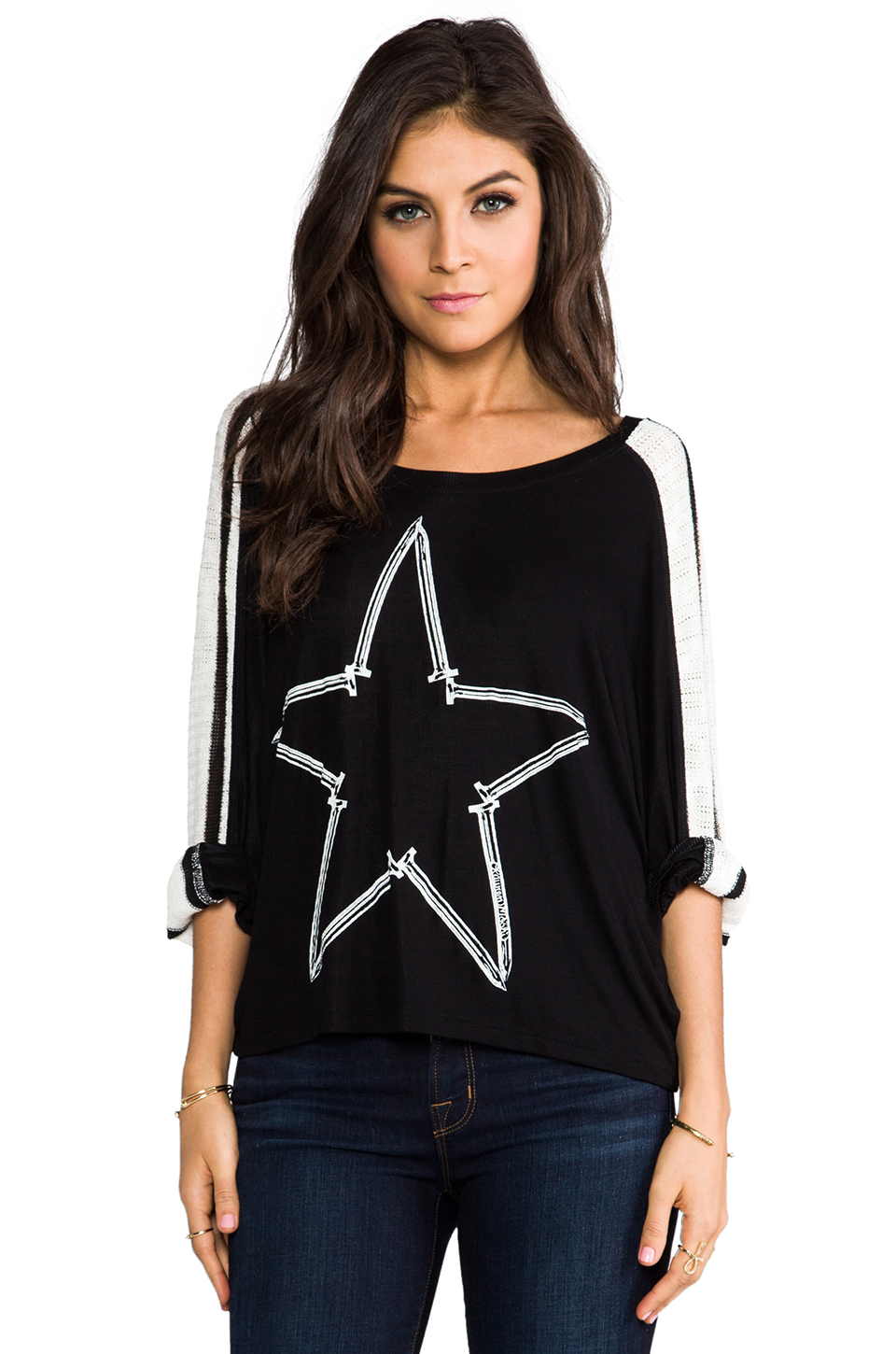 Lauren Moshi Nellie Nail Star Sweater in Black & White Stripe | REVOLVE