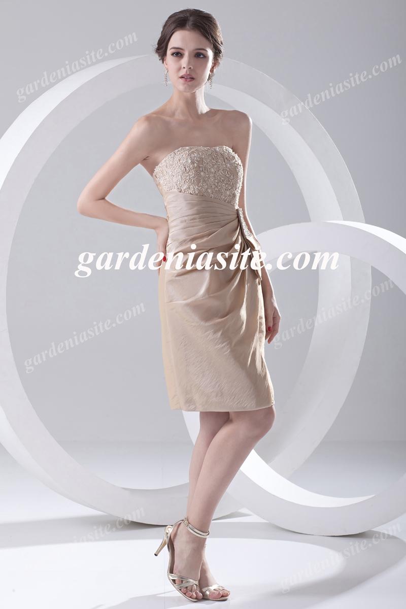 1968366ddcb Sheath Column Strapless Short Mini Appliques Taffeta Cocktail Dress ...