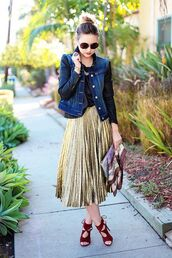 bag,clutch,metallic clutch,scarf,skirt,metallic skirt,midi skirt,gold skirt,jacket,denim jacket,blue jacket,leather sleeves,sunglasses,high heel sandals,sandals,red sandals,late afternoon,blogger,Aquazzura sandals,aquazzura