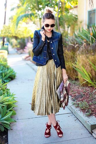 bag clutch metallic clutch scarf skirt metallic skirt midi skirt gold skirt jacket denim jacket blue jacket leather sleeves sunglasses high heel sandals sandals red sandals late afternoon blogger aquazzura sandals aquazzura burgundy strappy sandls gold pleated skirt