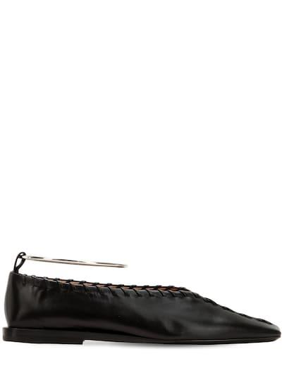 JIL SANDER 10mm Stitched Leather Flats Black