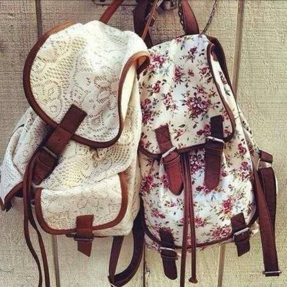 bag swag vintage retro flowers beautiful white backpack bags floral