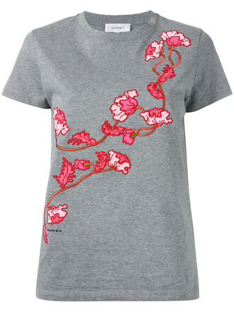t-shirt shirt embroidered women floral cotton grey top