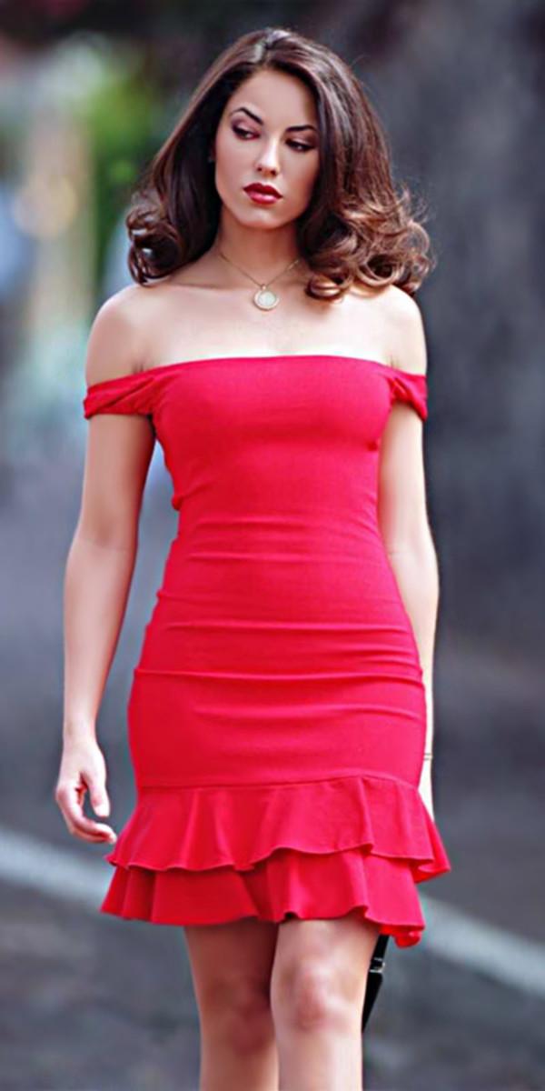 Dress Rubi S 233 Rie Red Dress Classy Barbara Mori