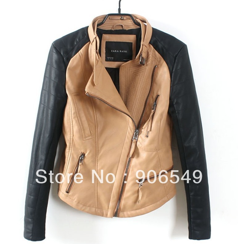 Winter And Autumn Women Fashion Brand Color Block Patchwork Zipper Motorbike PU Leather Jacket Coat Outerwear-in Leather & Suede from Apparel & Accessories on Aliexpress.com