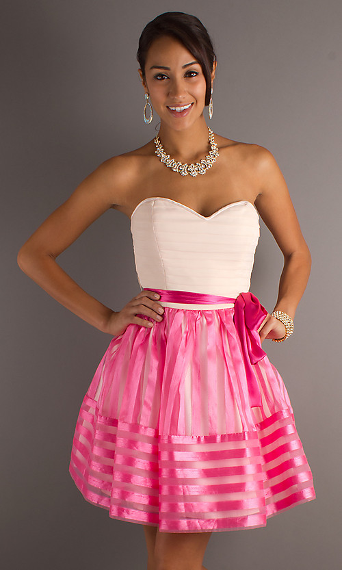 White and pink mini length a line strapless open back junior dresses with sash and zipper juniordress0037 [juniordress0037]