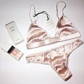 underwear,pink,satin,pink bra,pink underwear,triangle bra,perfume,all pink wishlist,glamour