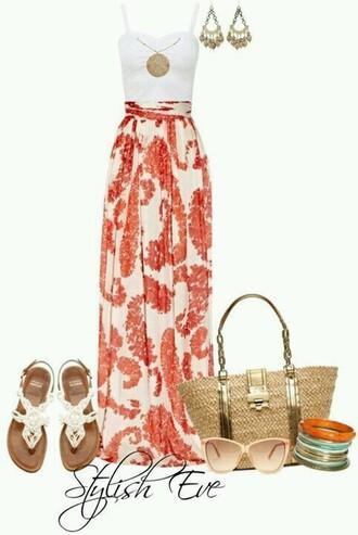 skirt orange skirt patterned skirt maxi skirt
