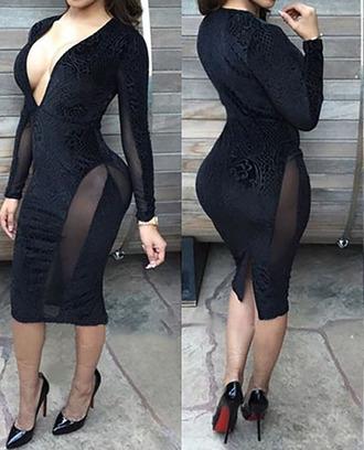 dress long sleeves dress black little black dress v neck dress plunging neckline dress velvet dress bodycon dress sexy dress open front dress