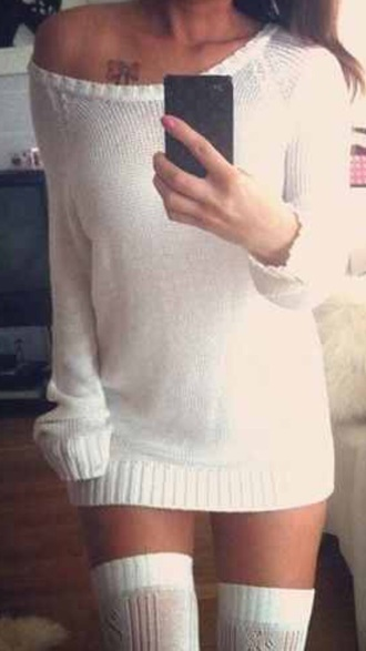dress high socks knitted sweater white oversized knit sweater
