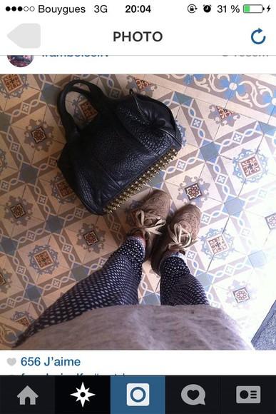 bag leather bag alexander wang black clous sur le coté