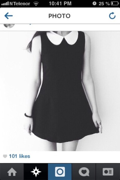dress vintage peter pan collar black and white black perfect dress cute dress black dress
