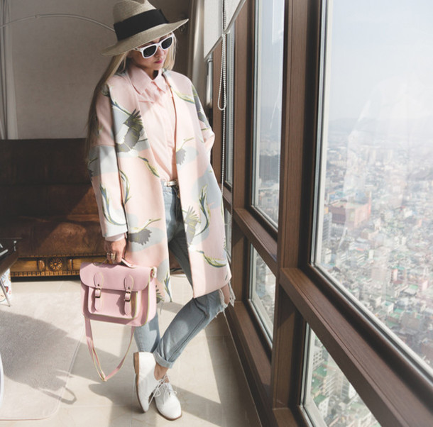 my blonde gal blogger hat blouse satchel bag pastel pink birds white shoes lace-up shoes coat pastel padded printed coat printed coat sunglasses white sunglasses jeans denim blue jeans pink bag
