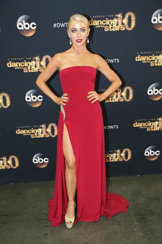 dress red dress julianne hough strapless slit dress