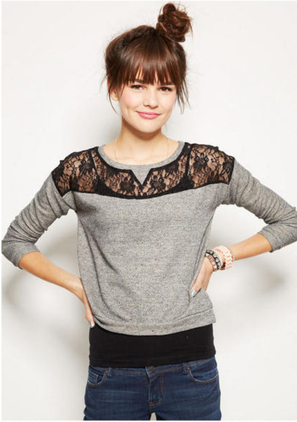 Sweater: lace, black lace, grey sweater - Wheretoget