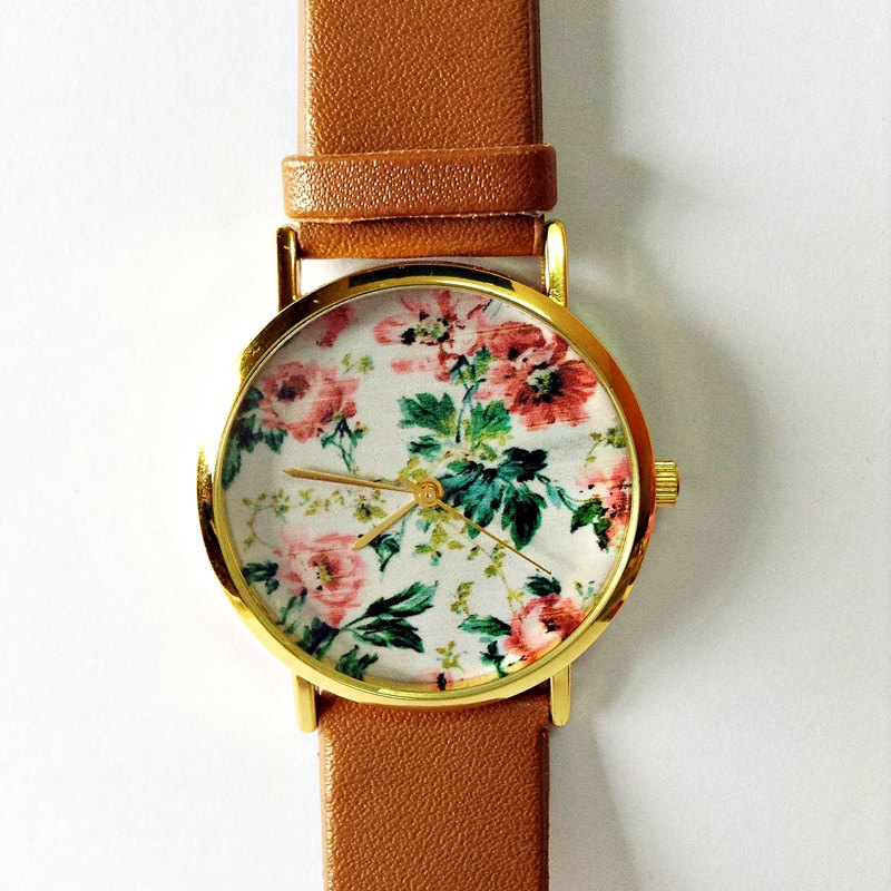 SALE! Floral Watch, Vintage Style Leather Watch, Women Watches, Unisex Watch, Boyfriend Watch, Black, Tan,
