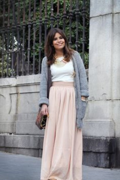Skirt: pink, maxi skirt, maxi, pink pale, light pink, clothes ...