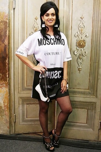 dress t-shirt dress shirt t-shirt black and white dress black and white moschino style celebrity katy perry