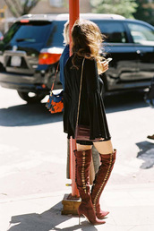 vanessa jackman,blogger,shoes,knee high boots,suede boots,brown boots,long sleeves,black dress,shoulder bag,bell sleeves,long sleeve dress,bell sleeve top,mini dress,fall dress,short dress,brown bag,high heels boots,over the knee boots,over the knee,bell sleeve dress