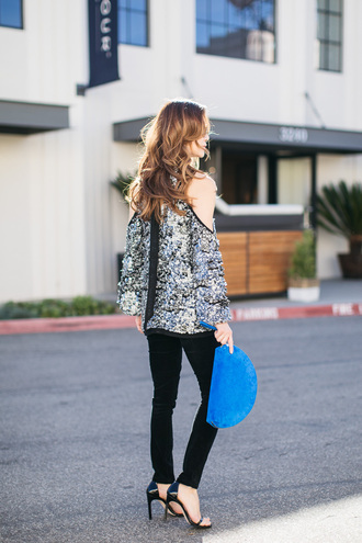 blouse tumblr sequin blouse sequins sequin top cut out shoulder cut-out cut-out shoulder top pants black pants bag blue bag sandals sandal heels high heel sandals black sandals