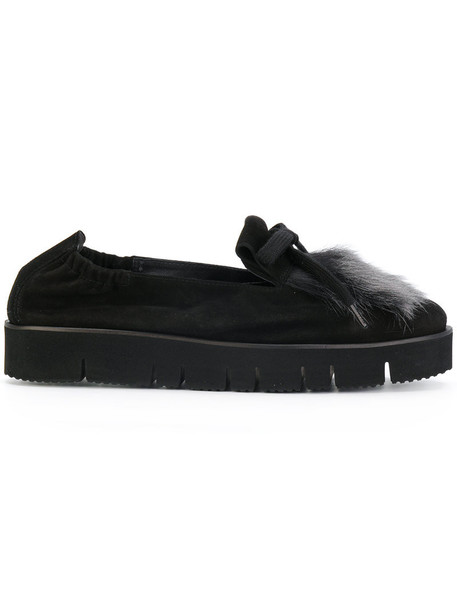 fur fox women loafers leather black shoes