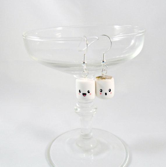 Cute Kawaii Marshmallow Earrings.. Choice of Sterling Silver Hooks :)